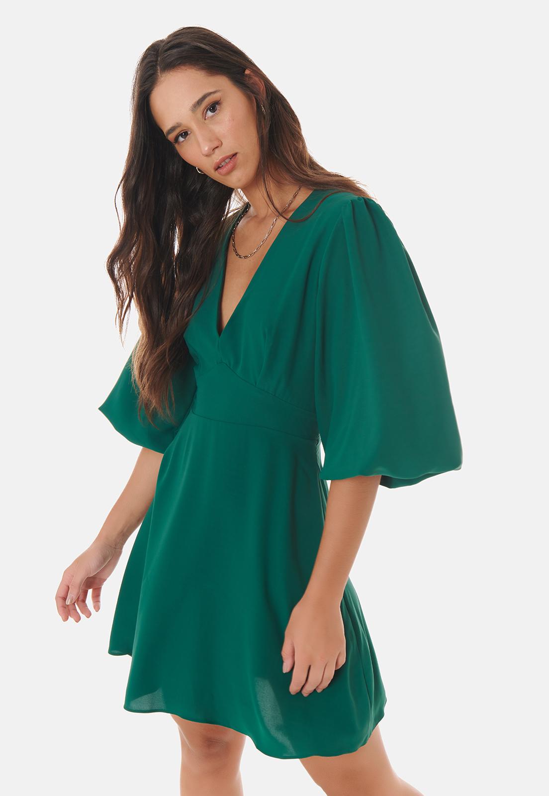 Vestido Serinah Curto Manga Balonê Verde