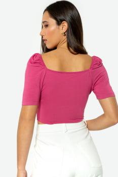 Cropped Serinah em Malha Franzido Rosa