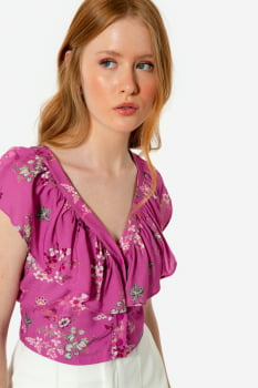 Blusa Serinah com babados Floral Rosa