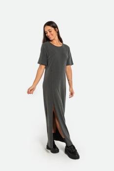 Vestido Serinah Longo Comfy Cinza Estonado