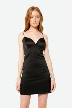 Vestido Serinah Curto com textura Preto