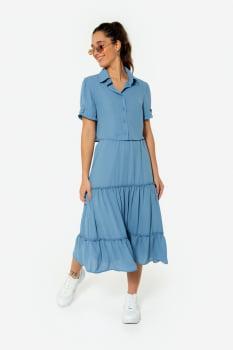 Camisa Serinah Curta de Crepe Azul
